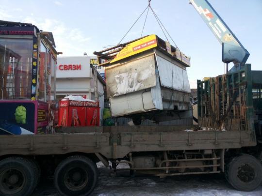 Местные власти демонтировали нелегальные киоски на основном рынке